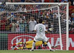 Bruno Alves hits the post during semi-final penalty shootout: Spain - Portugal 0:0 (4:2 pen.)