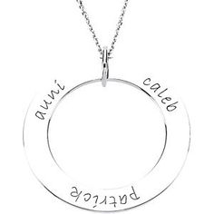 84693 / Sterling Silver / Mothers circle pendant up to five names with or without birthstones beside each name 31.3 MM DISC / Polished  Starting at $89