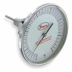 Bimetal Thermom, 5 In Dial, 0 to 300F by Dwyer Instruments. $182.63. Glow in the Dark. Glow In The Dark Dial Thermometer, Bimetal, Dial Size 5 In., Connection Size 1/2 In. NPT, Connection Location Adjustable, Stem Length 2-1/2 In., Temp. Range (F) 0 Degrees to 300 Degrees Accuracy +/-1 Percent, Stem Dia. 1/4 In.Vertical Adjustment Range 0 Degrees to 90 Degrees , Case Hermetically Sealed, Case Material Stainless Steel, Stem Material Stainless Steel, Window Material Glas...