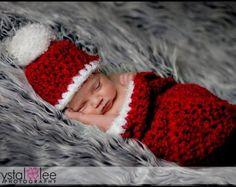 Newborn Santa Cocoon Hat Set Red White