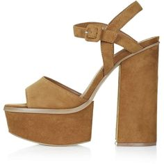 TOPSHOP LADY Chunky Platform Sandals ($90) ❤ liked on Polyvore featuring shoes, sandals, tan, strap sandals, tan leather shoes, leather sandals, chunky sandals and strappy platform sandals