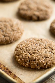 Chewy Molasses Spelt Cookies with Candied Ginger. I subbed with white whole wheat, brown sugar, and chia seeds.