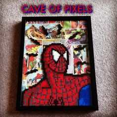 Spider-Man pixel bead sprite on comics collage, framed Spidey Sense Diy Perler Beads, Perler Bead Art, Pearler Beads, Pixel Beads, Fuse Beads, Pixel Art, Iron Man, Deadpool, Art Perle