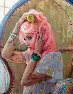"""Natalia Fabia - my self portrait, """"Pearhead"""" 16"""" x20"""" oil on panel"""