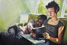 """Evan and Valarie"" A little moment in time after an allnighter. Why are my friends so adorable… (oil on canvas… a big canvas)  Audrey Benjaminsen 2013"