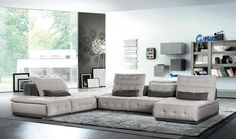 David Ferrari Daiquiri Italian Modern Light Grey & Dark Grey Fabric Modular Sectional. The Lusso Daiquiri Italian Modern Light Grey & Dark Grey Fabric Modular Sectional Sofa presents a remarkable stylish design featuring hand-tufted details on the seat, backrest, and headrests upholstered in Sherpa light grey fabric. This modular sectional sofa features 'lift-up' headrests and Sherpa light grey fabric upholstered base and frame. Durable four lumbar support cushions enhanced the relaxing…