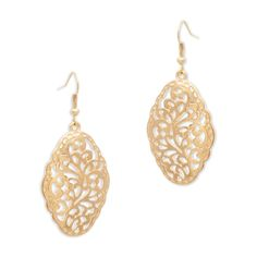 "Every girl should have a bit of filigree in her jewelry repertoire. The delicate gold Mischa earrings are just the candidate. The intricate rounded rhombus shaped design features a hammered border for artisinal appeal. Mischa is a must for day to night dazzle.    - Gold tone metal  - 1 1/2"" long  - French hook for pierced ears"