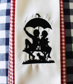 """Stickdatei  """"Regenschirm Schutz"""" Scherenschnitt... von  """"FeinKram""""  hier gibt es die schönsten Scherenschnitt StickDateien ;-))) auf DaWanda.com"""