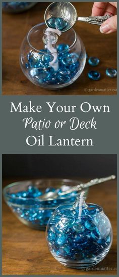 Learn how to make an inexpensive patio oil lantern with an lamp insert, a dollar store vase, and gems. It comes together in minutes and costs less than $10.