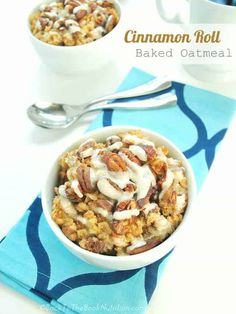 Cinnamon Roll Baked Oatmeal with Powdered Sugar Icing