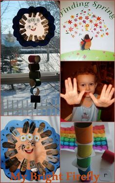 Sunshine and Rainbows Collage and Play. Sunshine mobile preschool craft. Finding Spring. Colored sand and glitter. Rainbow preschool activities: sensory play and a book, weather unit for classroom and home.
