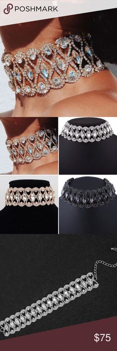 Glam Crystal Choker Available in Silver, Gold and Black. Statement piece! Includes extender chain for adjustability.  Made of crystal, rhinestone and copper.   Measurements in pics Jewelry Necklaces