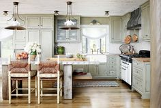Rustic kitchen with neutral colors and straw bar stools