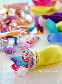Globo - Piñata:  Globos rellenos con Dulces