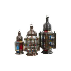 Jayson Home Moroccan Lanterns ($295) ❤ liked on Polyvore featuring home, home decor, candles & candleholders, moroccan style lanterns, colorful lanterns, outside lanterns, colorful home decor and moroccan home decor