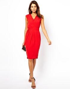 ASOS | ASOS Midi Dress With Double V Neck at ASOS