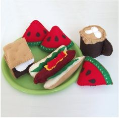 Felt pattern Hot Dog and Smores Pattern  CAMP by LittleCrickets, $6.00
