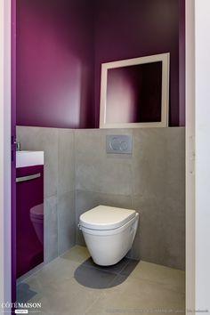 D co toilettes prune et gris for Carrelage couleur prune