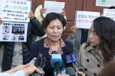 The wife of Gao Zhisheng, Geng He, speaks to reporters at a news conference held in the Bay Area, California, on Aug. 7. Gao Zhisheng, one of China's most prominent rights lawyers, was recently released from prison but is not yet free from official surveillance and control. (Ma Youzhi/Epoch Times)