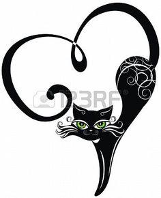 Chat noir avec coeurs Banque d'images - 17641203