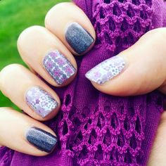 """New mixed mani wrap """"Violet"""" paired with this month's Colour Pop """"Showtime."""" From Insta @ashaffner01"""
