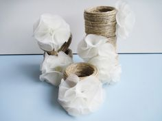 DIY napkin holders: PVC pipe, hemp twine and pretty little flowers! Pvc Backdrop, Architecture Design, Rustic Bohemian Wedding, Fleurs Diy, Pvc Projects, Diy Wedding Decorations, Wedding Ideas, Little Flowers, Crafts To Do