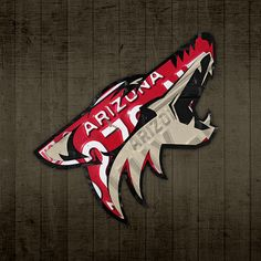 Arizona Coyotes hockey team recycled vintage license plate art.