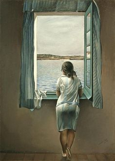 Salvador Dali Art... Who is she waiting for to sail in on the lake?  She seems content, yet lonely to me.
