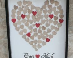Wedding guest book and Unique Heart Guestbook - 16 x 20 -  Shadow Box Included