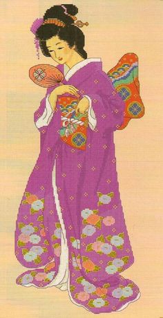 LAVENDER GEISHA LADY Cross Stitch Kit via elgkneedlecraftsnmore. Click on the image to see more!