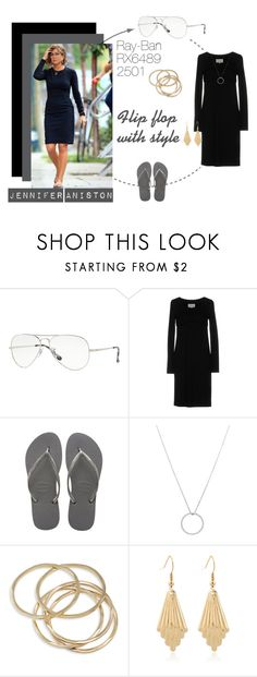 """Jennifer Aniston: Flip flop with style"" by visiondirect ❤ liked on Polyvore featuring Ray-Ban, Maison Margiela, Havaianas, Roberto Coin and ABS by Allen Schwartz"