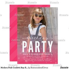 "Modern Pink Confetti Any Age Photo Birthday Party Card Modern Photo Birthday Party Invitation featuring the words ""birthday"" in a relax script above a bold ""Party"" in white against a partly transparent pink with confetti gradient overlay on the front and pink diagonal stripes design on the back side. Personalize it by replacing the placeholder text and replace the sample/placeholder photo with your own photo. For more options such as to change the font and it's size/color or the spacing…"