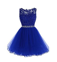 Drasawee Short Tulle Evening Cocktail Ball Gowns Prom Dresses for Teen Girls Blue UK4