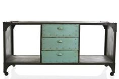 For lovers of rustic industrial chic furniture, we have an awesome iron locker door cabinet / sideboard with open plan shelving and three drawers.