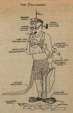 "This cartoon of ""The Freshman"" ran in the Daily Sundial, campus newspaper of San Fernando Valley State College (now CSUN), on September 15, 1964. It depicts the freshman as worn and weary from the travails of registration (by the sling and the ""knarled hand""), trying to hard to fit in (the cigarettes), and not quite ready for it all (the apron strings). Happy first day of Fall 2014! CSUN University Digital Archives."