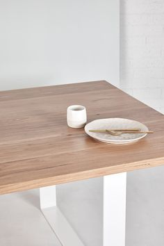 Our Stockton Dining Table exudes sleek, minimalistic coastal style. The simplicity of white powder coated legs allow the table top to truly sing! Timber Table, Coastal Style, Dining Table, Make It Yourself, Canning, Dinner, Kitchen, Powder, How To Make