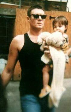 Simon Le Bon holding toddler, Amber