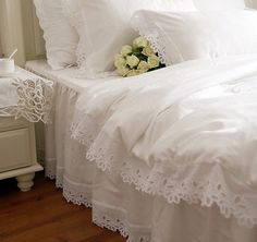 Swanlake Shabby and Elegant White Cutwork Lace Cotton Duvet Cover Bedding Set 1116 (Queen) Ruffle Duvet, Duvet Bedding, Cotton Duvet, Bedding Sets, Lace Ruffle, Cotton Lace, King Cotton, Girl Bedding, Cotton Fabric