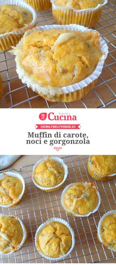 Muffin di carote, noci e gorgonzola Salty Foods, Salty Cake, Muffins, Cupcakes, English Food, Vegetarian Dinners, Roasted Sweet Potatoes, Antipasto, Finger Foods