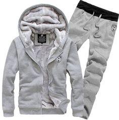 Men Winter Sweatshirts Jackets Thick Velvet Hooded Zip Coat Hoodies And pants #NEW #BasicCoat