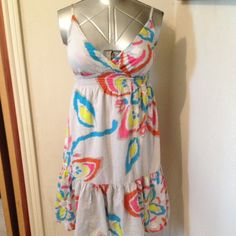 """Soft Light Gray Neon Floral print Sundress Big neon flowers in blue/yellow/pink and orangeish red. Lined. Adjustable straps. Ruffled along bottom. Elastic under bust 22""""-30"""". Neckline to hem 30"""" Old Navy Dresses"""