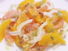 Citrus Salad.  Oranges, grapefruit, fennel, and walnuts in a citrus basil dressing.  One  of my winter favorites!