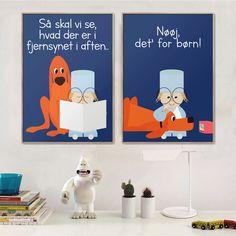 """Plakaterne fra Danmarks Radio intro til 'Fjernsyn For Dig'. Citaterne """"Så skal vi se hvad der kommer i fjernsynet i aften.."""" og """"Nøøj, det' for børn."""""""