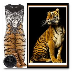 """""""TIGER"""" by purplerose27 ❤ liked on Polyvore featuring Roberto Cavalli, Gianvito Rossi and Chanel"""