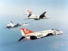 The first McDonnell Douglas YF-18A Hornet (BuNo 160775) is refueled by a U.S. Navy Douglas KA-3B Skywarrior from the Naval Air Test Center, Patuxent River, Maryland, in April 1979.