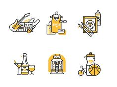 Illo'con style experimentation illustration icon flat brooklyn music shopping art drinks transportation fitness line tiny bicycle Flat Design Icons, Icon Design, Flat Icons, Design Design, Graphic Pattern, Experiment, Typography Design, Branding Design, Website Icons