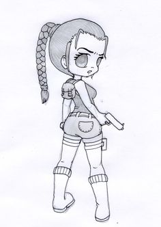 Chibi Lara Croft - Pencil by XxCute-KittyxX.deviantart.com on @deviantART