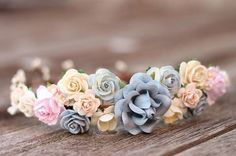 This intricately arranged Blush & Dusty blue wedding flower crown is a Beautiful classic Headpiece Blush & off-white dust Blue roses make a romantic flower Hair Wreath.The Roses has a realistic look with lots of details. Created with love & care of Rose Flowers. Its the perfect wedding-day hair accessory or for an elegant celebration. <<<FINISHES>>> Headband- Open back with no ribbon is perfect for a up-do hair style, can be easily positioned in the hair. Rib... #weddingdayhair
