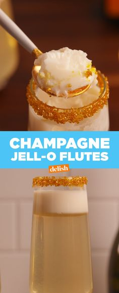 Champagne Jell-O FlutesDelish Yummy Drinks, Delicious Desserts, New Years Cocktails, Best Champagne, Jell O, Alcohol Recipes, Appetizers For Party, Holiday Recipes, Party Recipes