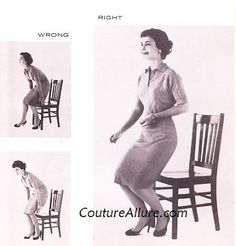 Couture Allure Vintage Fashion: Friday Charm School - How to Sit Like a Lady Part 1